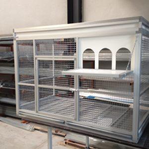 #013 duiven ren 150 x 80 x 100 cm met uitvlieg luik